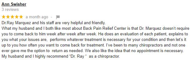Chiropractic Vineland NJ Back Pain Relief Center Testimonial